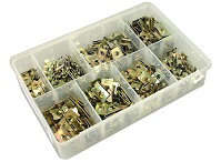 Box of Assorted 'U'-Nuts & 'J'-Nuts (Speed Fasteners) in Zinc.  250 pieces